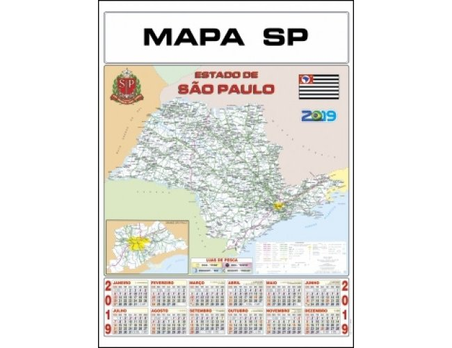 Folhinha Mapa SP 47x65cm com 2 Varetas (MB1195.1020)